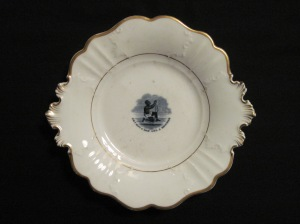 Abolition Plate from Wyck Historic House, Garden and Farm.  The curvy, Rococo revival form puts it in the c.1840s-50s.